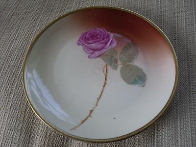VINTAGE GERMAN HUTSCHENREUTHER SELB BAVARIA PINK ROSE THORNY PLATE HANDPAINTED