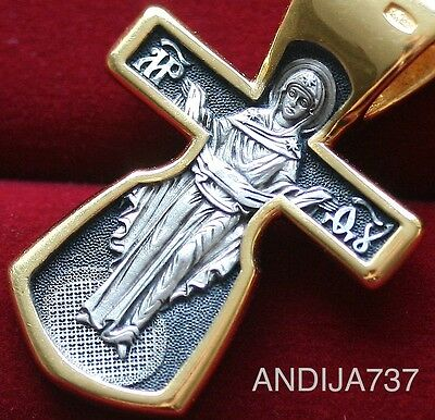 Russian Orthodox Cross Medal Silver 925+999 Gold.mother Of God-Pokrov Icon.