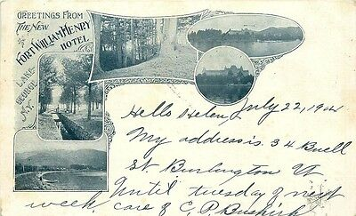 LAKE GEORGE NY THE NEW FORT WILLIAM HENRY HOTEL MULTI PHOTO PMC POSTCARD c1910