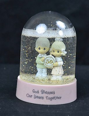 Precious Moments Water/Snow Globe Rod Blessed Our 50 Years Together 4 Inch tall