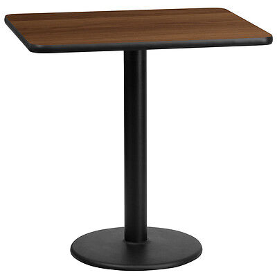 24'' X 30'' Rectangular Walnut Laminate Table Top With 18'' Round Table Ht Base