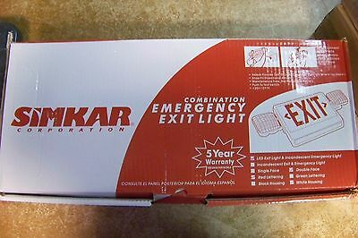 NEW Simkar SCLI2RW 2-Light LED Combo Emergency Light and Exit Sign