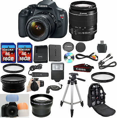 Canon EOS Rebel T5 Camera Bundle with Canon 18-55mm IS II + W/A + Tele + 32GB +