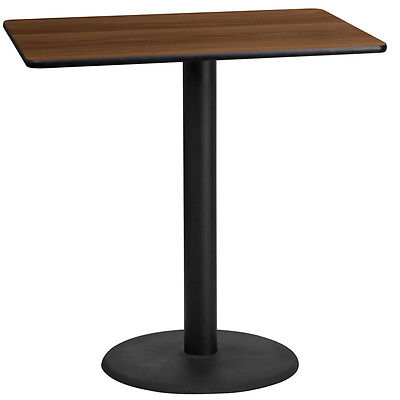 24'' X 42'' Rectangular Walnut Laminate Table Top With 24'' Round Bar Ht Base