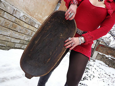 antique primitive hand carved large wood dough bowl trencher rare 19th century