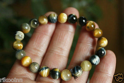 8mm Natural Gold Blue Tiger's Eye Crystal Chatoyant Round Bead Stretch Bracelet