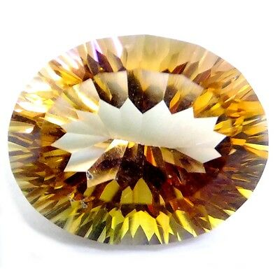 NATURAL VERY RARE MYSTIC YELLOW QUARTZ GEMSTONES (16 x 13 mm) OVAL CONCAVE-CUT