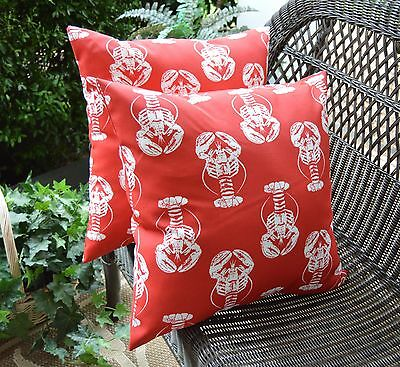 Set of 2 Red & White Lobster Coastal Beach Decorative Outdoor Pillows