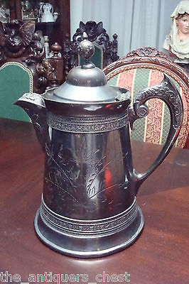 """Antique 1880's JA Babcock & Co Silver Plated coffee pot/pitcher Acorn Lid, 12""""[4"""