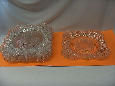 """5 Vintage Westmoreland Clear Glass English Hobnail 7.50"""" Square Plates"""