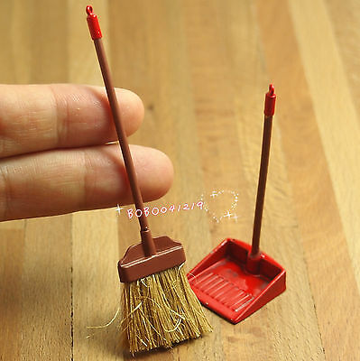 Dollhouse Miniature 1:12 Toy Red Metal Long Handles Broom And Dust Pan Set JM54