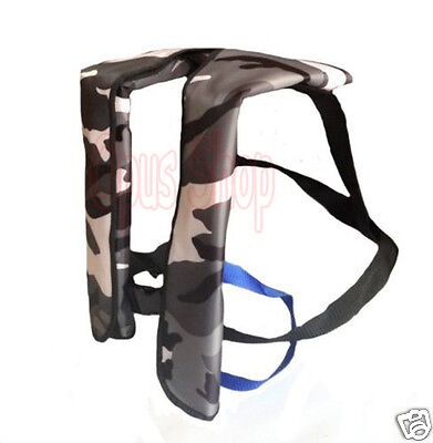 Camouflage Adult Inflatable Life Jacket 150N Inflation Buoyancy Aid