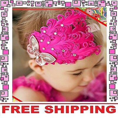 Hot Pink Feather Headband Hairband Accessories Girl Baby Infant Toddler Children