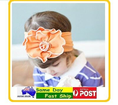 Orange Cotton Flower Bow Headband Hairband Girls Baby Infant Toddler Children