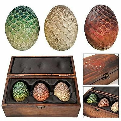 NEW HBO Game of Thrones Authentic Prop - Dragon Egg Collector Wooden Box Set