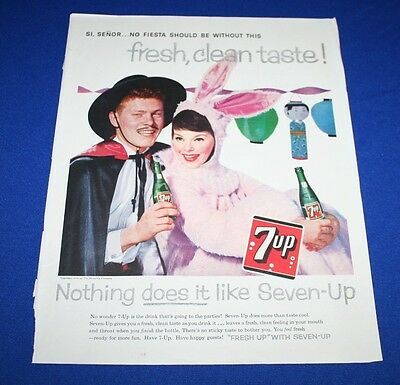 1958 VINTAGE PRINT SALES AD 7-UP SODA SI SENOR FRESH CLEAN TASTE COLOR 10 X 13