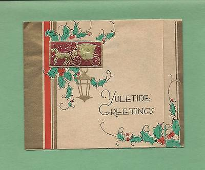 HORSE-DRAWN CARRIAGE On Vintage Art Deco CHRISTMAS Greeting Card
