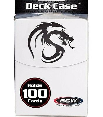 2 BCW White 100 Card Deck Box with Divider plus 200 Double Matte Guard Sleeves