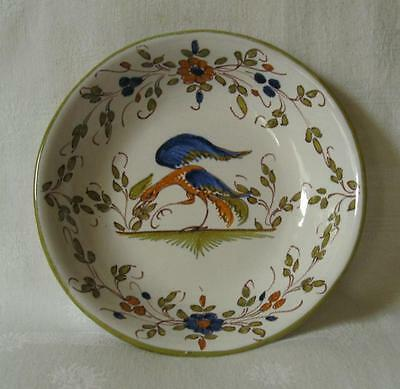 EARLY 20THC ANTIQUE FRENCH TIN GLAZED FAIENCE BOWL DECORATED WITH A PEACOCK