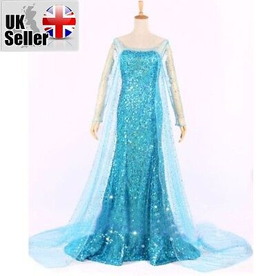 Adult Frozen Style Princess Elsa  Dress Cosplay Party Fancy Costume 701