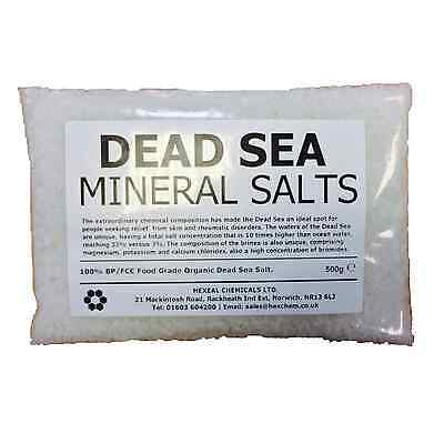 DEAD SEA BATH SALTS | 500g BAG | 100% Natural Organic | FCC Food Grade