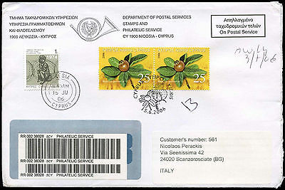 Cyprus 2006 Registered Cover To Italy #C17177