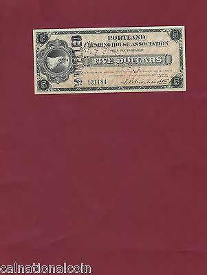 Five Dollar Portland Clearing House Assoc.  Depression Script  1933 punched cxl