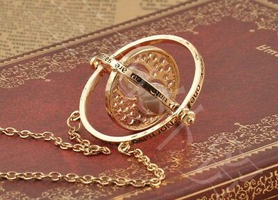 CooL Harry Time Turner Necklace Hermione Granger Rotating Spins Gold Hourglass
