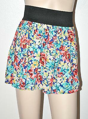 Sexy Floral High wide Waist band Rayon S Mini Skirt Forever 21 Boho 16 in L New
