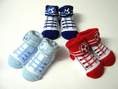 Boys  Pack Of 3 Pair  Football Style Socks   By Soft Touch  Age 0-6 Months