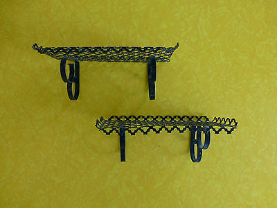 Lot of 2 Vintage Small Black Metal Wall Hanging Shelves Mid Century Modern 60s
