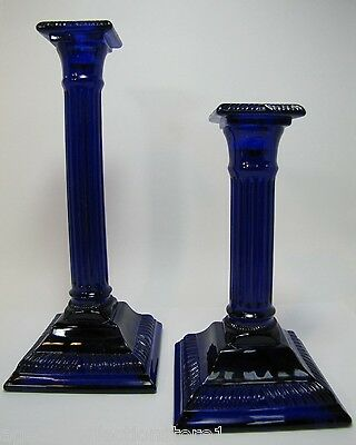 Vintage Dalzell Glass Candlesticks two deep blue purple Smithsonian Institute