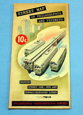 Street map of Philadelphia And vicinity 1950 Streetcar Bus Subway Elevated Lines