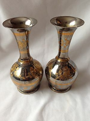 VINTAGE METAL /BRASS VASES WITH ENGRAVED PATTERNS -excellent Condition