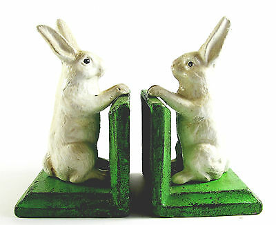 Cast Iron - rustic White Rabbit Bookends - Very Heavy