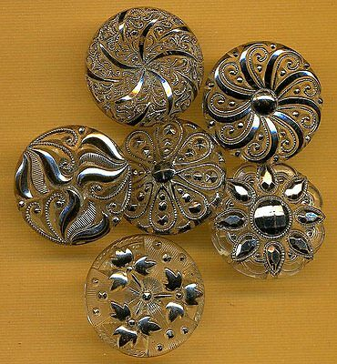"""Lot of 6 Vintage Clear Lacy Glass Buttons with Silver Luster...7/8""""....Pretty!"""