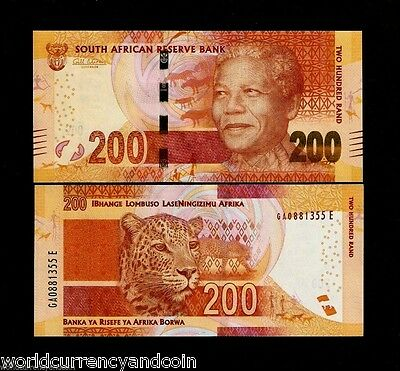 South Africa 200 Rand P142 2014-2015 Noble Mandela Panther Tiger Unc Money Note