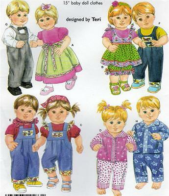 """4268 SIMPLICITY Pattern 15"""" Boy Girl Twins Clothes Doll Overalls PJs Uncut OOP"""