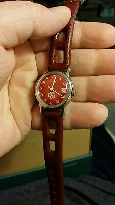 VERY RARE Vintage 1973-1974 RED FACE Timex Girl Scout Watch RED Band Wind Up.