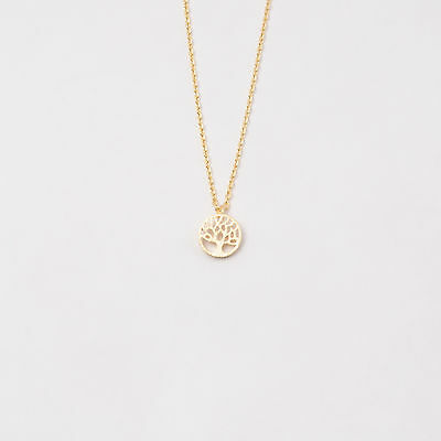 Fashion Tree of Life Yellow Gold Rose Gold Silver Charm Pendant Chain Necklace