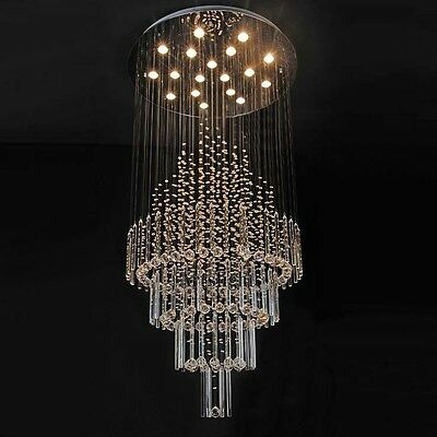 Crystal Ceiling LED Lamp hang light Fixture Curtain Pendant Chandelier hall room