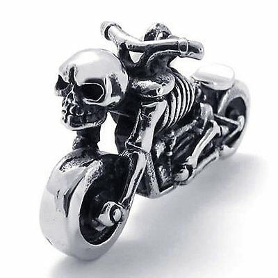 Mens Gothic Biker Skull Motorcycle Stainless Steel Pendant Necklace P1484