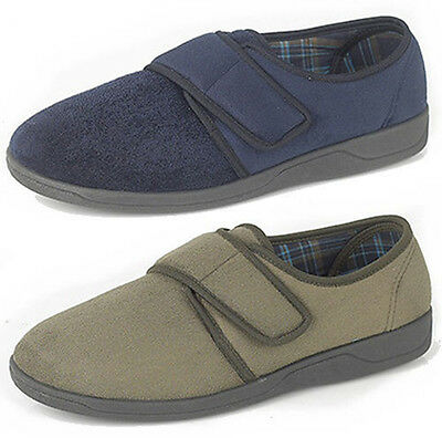 Mens Velcro MEMORY FOAM Slippers Khaki Navy Size 6 - 13 OUTDOOR SOLE