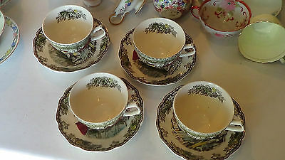 Johnson Brothers The Friendly Village Ice House Four (4) Teacups & Saucers