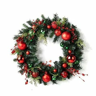 Winter Lane Red and Green Ball and Berry Pine Wreath