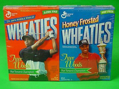 2 NEW WRAPPED Wheaties TIGER WOODS Limited Edition Inaugural Cereal Boxes