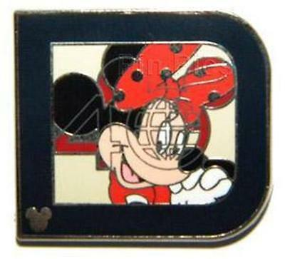 MINNIE IN LETTER CLASSIC D  COLLECTION Hidden CAST LANYARD 2011 WDW DISNEY PIN