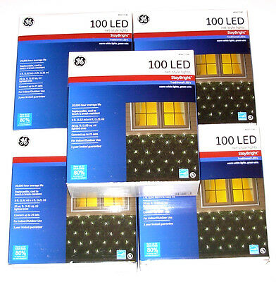 5 Boxes GE 100ct LED Net Style Lights, White, StayBright, New