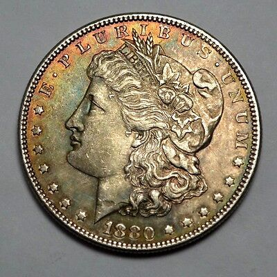 1880-P AU+ Morgan Dollar VERY NICE  Silver Coin,Natural Toning, Never Cleaned