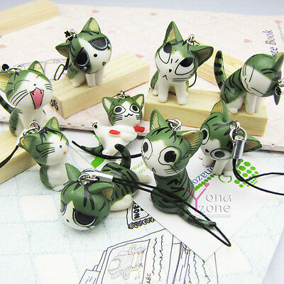 Lot of 9pc Chi's Sweet Home Phone Straps Cute Cat Charm Kitty Keychain+Jack Plug